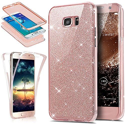 Kompatibel mit Galaxy S6 Edge Hülle,Galaxy S6 Edge Schutzhülle,Full-Body 360 Grad Bling Glänzend Glitzer Durchsichtige TPU Silikon Hülle Handyhülle Tasche Front Back Cover Schutzhülle,Rose Gold