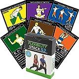 Flexibilitäts-Übungskarten durch Stapel 52. Erlernen Sie statische und dynamische Ausdehnungen. Video-Anweisungen enthalten. Ideal für Workout Warm Ups und Cooling Down. Erhöhen Sie die Gelenkstrecke sicher.
