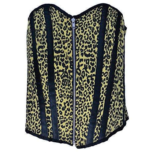 Zoelibat 53039342.065L - Burlesque Vollbrust Corsage Leopard mit Leo Print, Große L, gelb/schwarz