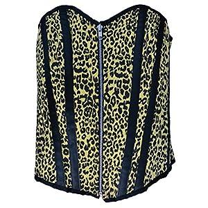 Zoelibat 53039342.065M Burlesque-Completo Pecho Corpiño Leopard con Leo Print, Grandes M, Amarillo/Negro