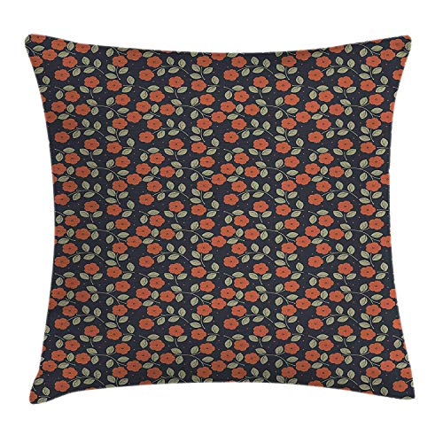 Garden Art Throw Pillow Cushion Cover, Dark Toned Dotted Background with Flower Silhouettes and Foliage, Decorative Square Accent Pillow Case, 18 X 18 Inches, Night Blue Ruby Green Kings Crown Ruby