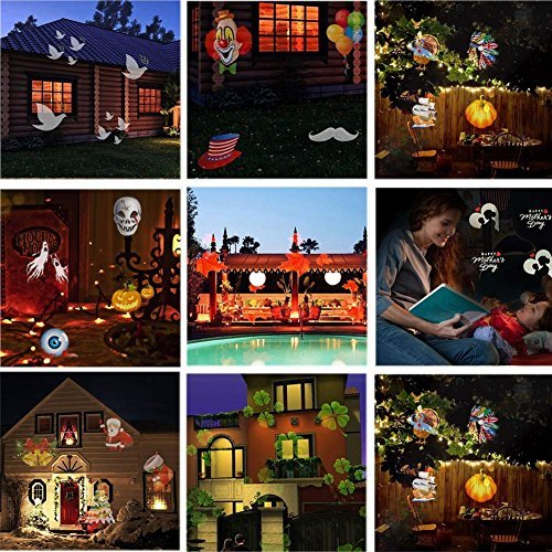 scape Light Rotating Projector 15 Pattern Spotlight LED Waterproof Lights for Halloween Garden Yard Decor ()