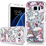 Uiano® Coque Samsung Galaxy S7 Edge, licorne conception Bling Glitter Liquid brillant Crystal Back cas couvrir Housse Shinny difficile Protective Shell pour Samsung Galaxy S7 Edge couleur