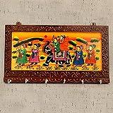 #7: Ethnic Arts Brown Color Wooden Rajasthani Art Work 6 Hook Hanging Key Holdey 1006