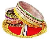 IPP Beautiful Karwa Chauth Maroon Puja Thali Set amazing set of thaali, lota/kalash and chalni/jaali for KARWA CHAUTH Pujan