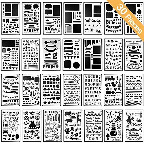 Schablonen für DIY Scrapbooking Bullet Journal Schablone Buchstaben Notizbuch Tagebuch Scrapbook Zeichnen Stempel Album Deko Prägung Papier Karte Schule Schreibwaren Zubehör Aushöhlung 30 Stück -