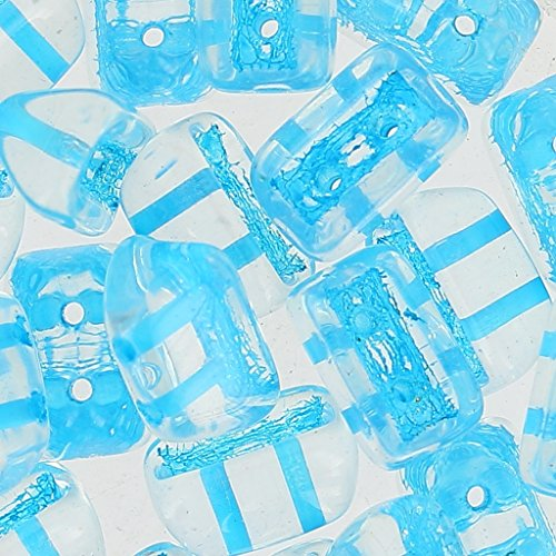 Roofy Beads Glasperlen 5x8 mm Crystal Aqua Lined x25 (Lined Crystal Aqua)