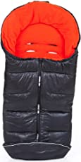 ABC-Design Universal-Fußsack / Winterfußsack für Kinderwagen & Buggy | Thermo-Fleece, Wasser- & Windabweisend, Anti-Rutsch-Pads, Mumienfunktion - Flame (Grau, Rot) schwarz/rot
