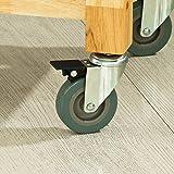 SoBuy® Servierwagen aus Kautschukholz ,Küchenwagen,Küchenregal, Rollwagen ,B80xT40xH90cm, FKW24-N - 8