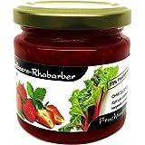 """Xylit Fruchtaufstrich""""Erdbeere-Rhabarber"""" ohne Zuckerzusatz, nur mit Xylit gesüßt, 75% Fruchtanteil (mehr als Marmeladen), Low Carb, 200 g"""