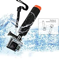 micros2u Diving Dive Floating Adjustable Buoyancy Floaty Handle Hand Grip Stick Mount For Gopro Hero, Action Cams. Hollow Interior Storage of Small Items / Textured Silicone Handle for Easy Grip