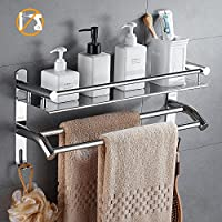 HOMFA Bathroom Shelf Wall Mounted Shower Organiser Basket with Double Rail Bar Stainless Steel Polished Finish,Self Adhesive or Screws Mounting