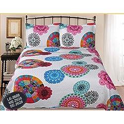 ForenTex- Colcha Boutí reversible, (LE-2628), cama 150 cm, 240 x 260 cm, Estampada cosida, mandalas fucsia, colcha barata, set de cama, ropa de cama. Por cada 2 colchas o mantas paga solo un envío (o colcha y manta), descuento equivalente antes de finalizar la compra.