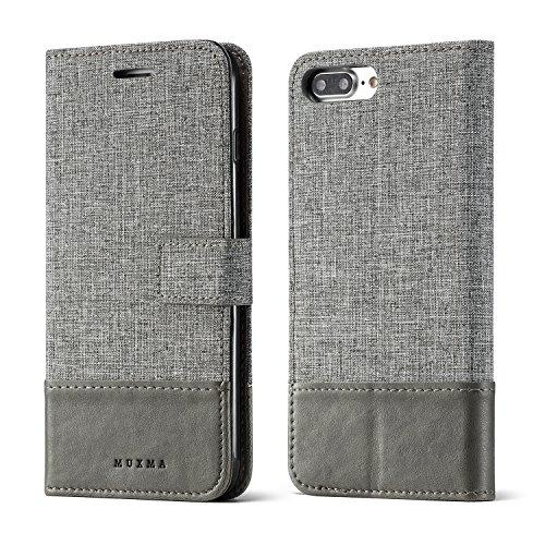 Meimeiwu Flip Custodia Deluxe Magnetico Portafoglio Custodia per passaporto in canvas e simil pelle Cover Case Per iPhone 7 Plus/iPhone 8 Plus - Marrone Grigio