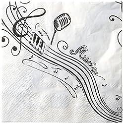 Servietten Music für deine Mottoparty / Themenparty Musik mit Noten & Notenschlüsseln in schwarz & weiß - Inhalt 20 Stück - 33 x 33cm