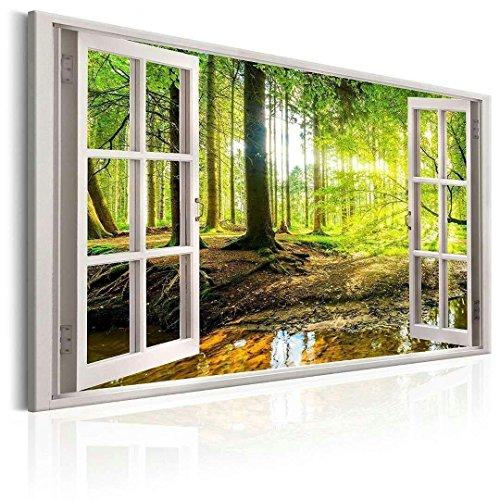 Visario 120 x 80 cm Bild auf Leinwand Fenster Blick Wald 5001-SCT deutsche Marke und Lager - Die Bilder/das Wandbild/der Kunstdruck ist fertig gerahmt