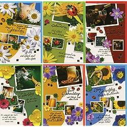 50 Geburtstagskarten Grußkarten Glückwunschkarten Klappkarten mit 50 Umschlägen Geburtstag bunte Hüllen 51-6250