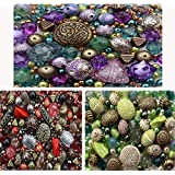 Approx 1200 Jewellery Beads includes 3 x sets of Green, Red & Purple Jewellery Making Mixed Beads
