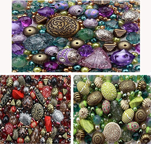 approx-1200-jewellery-beads-includes-3-x-sets-of-green-red-purple-jewellery-making-mixed-beads