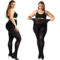 MANZI 2 Pairs 70 Denier Women's Plus Size Tights Stretch Opaque Control Top Tights