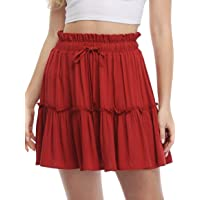 Women's Boho Floral Print Elastic High Waist Pleated A Line Mini Skirt Ruffle Flowy Flare Skater Skirt