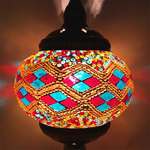 TUNBG LED-Wand Lampe E14 Östliches Mittelmeer Stil Wohnzimmer Schlafzimmer Bett Legierungen Mosaik Glas Wandleuchte, U -