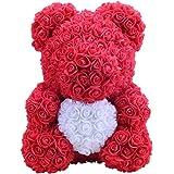 Amosfun 40 cm Rose Bear Rose Flower Artificial Decoration Regalo di San Valentino Regalo Creativo Fai da Te per la Fidanzata