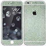 Urcover® Glitzer-Folie zum Aufkleben   Apple iPhone 6 / 6s   Folie in Grün   Zubehör Glitzerhülle Handyskin Diamond Funkeln Schutzfolie Handy-Schutz Luxus Bling Glamourös