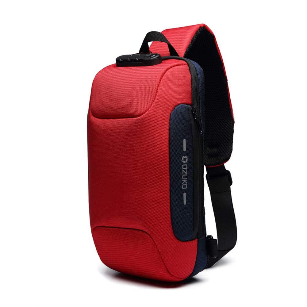 XDD Mochila de Honda, Bolsa de Pecho de los Hombres antirrobo USB con Bloqueo de contraseña antirrobo, Bolso de Hombro Casual Impermeable Oxford Tela