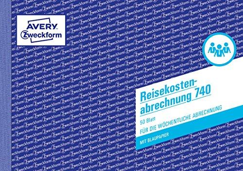 AVERY Zweckform 740 Reisekostenabrechnung (A5 quer, mit 1Blatt Blaupapier, von Rechtsexperten geprüft für Deutschland/Österreich zur wöchentlichen Abrechnung inkl Kfz-Kostenaufstellung, 50 Blatt) weiß