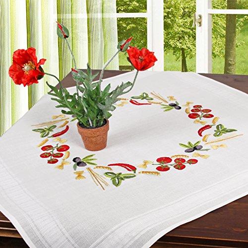 Stickpackung PASTA / Komplettes vorgezeichnetes Tischdecken Set zum Sticken / Stickset mit Stickvorlage für Erwachsene