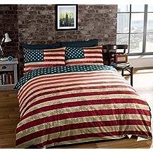 Edredón colcha reversible individual bandera Estados Unidos de América azul 8d3fb8ab2f6