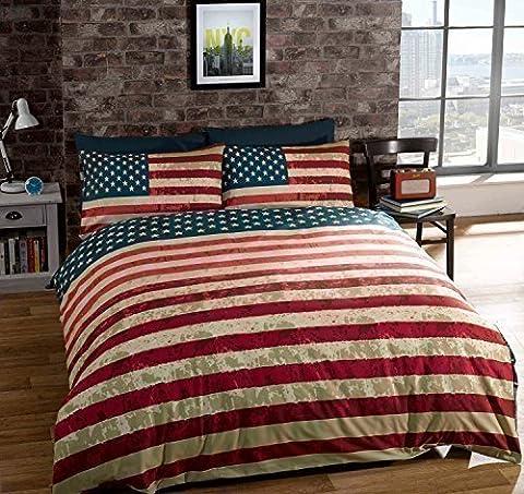 Housse de couette grande taille drapeau des USA réversible en