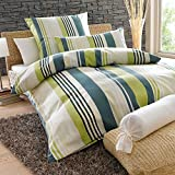 Bettwaren-Shop Feinbiber Bettwäsche Green Stripes 135x200 cm + 80x80 cm
