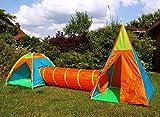 heimtexland Outdoor Abenteuer Set mit Tunnel Zelt Indianerzelt ca. 4 MTR. Länge Garten Spielhaus Spielzelt Activity Spielzeug Typ543