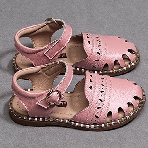 Oasap Girl's Fashion Round Toe Hollow out Flat Sandals pink