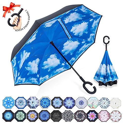 Parapluie Inversé,Parapluie Canne,Double Couche Coupe-Vent, Mains Libres poignée en forme C, Idéal pour Voiture et Voyage(Ciel bleu et nuages blancs)