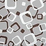 WANDfee® Wandtattoo 64 Retro Vierecke mit FARBWUNSCH 2farbig Farbe Dunkelbraun Weiss