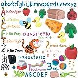 Jomoval RMK1185SCS - Adesivi murali riutilizzabili RoomMates, lettere e numeri con immagini per imparare in inglese