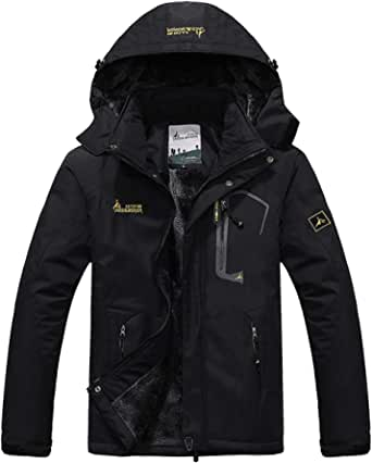 donhobo Womens Waterproof Jacket Winter Warm Fleece with Hood Windproof Camping Hiking Coat