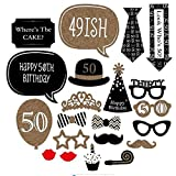 Photo Booth Geburtstagsparty Photo Booth Props 50 Geburtstags Photo Booth Requisiten für Partei Dekorationen 21 Stücke Photo Booth Accessoires DIY Kit-Meowoo