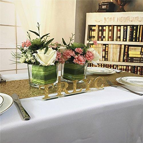 TRLYC 30cmx150cm Gold Hochzeit Pailletten Tischläufer