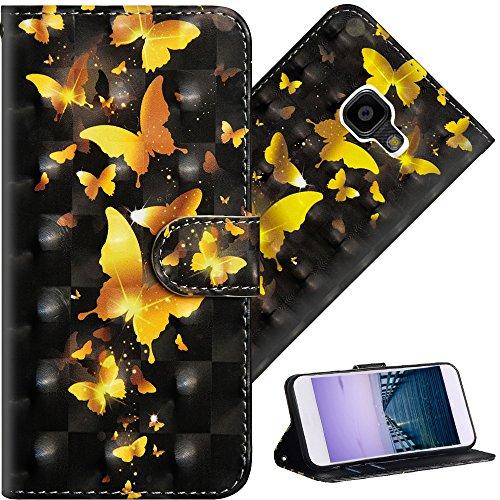 COTDINFOR Galaxy Xcover 4 Hülle für Geschenk Lederhülle 3D-Effekt Kartenfächer Schutzhülle Protective Handy Tasche Schale Standfunktion Etui für Samsung Xcover 4 Golden Butterflies YX.