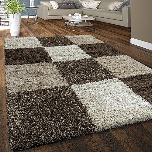 Pile shaggy tappeto soffice morbido pelo lungo quadri motivo beige marrone crema, dimensione:120x170 cm