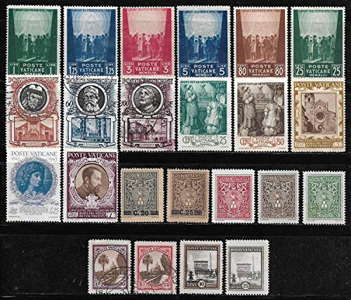 Rare Vatican City Genuine Used 23 Different Stamps for Collection