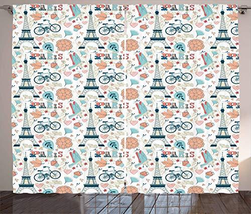 ikaler Gardine, Herbst in Frankreich Thema, Schlafzimmer Kräuselband Vorhang mit Schlaufen und Haken, 280 x 175 cm, Mehrfarbig ()