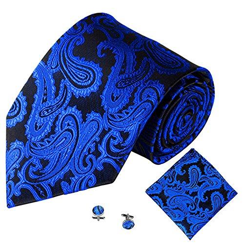 liege Herren Schleife bereits gebunden verstellbar, 3 Stücke Klassische Jacquard Männer Party Krawatte Einstecktuch Taschentuch Manschettenknopf ()