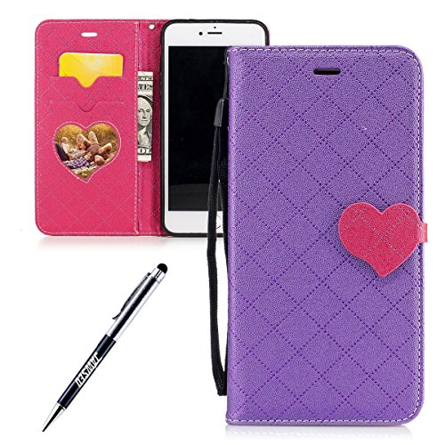 JAWSEU iPhone 7 Plus Coque Cuir à Rabat,iPhone 7 Plus Étui Portefeuille Pu avec Diamant Brillant Bling,2017 Femme Homme Leather Pu Flip Wallet Case Cover avec Magnétique Folio Housse Etui,Luxe Retro É Violet/love
