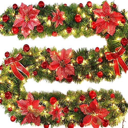 EZSTAX Guirnalda de Pino Artificial Guirnalda de Navidad Decoraciones de Navidad 106'/ 2.7M