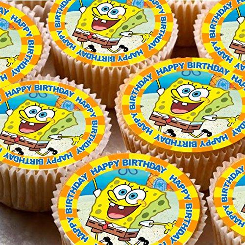 �cm auf Zuckerguss Cupcake Bilder-Spongebob Schwammkopf Happy Birthday ()